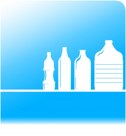 plastic bottles: blue water background with set plastic bottles silhouette Illustration