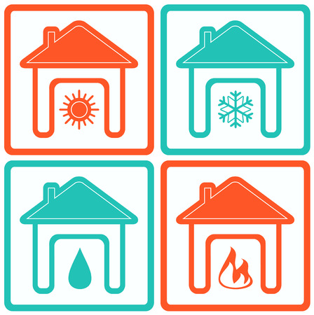 set isolated house icons with water drop, sun, snowflake and fire silhouette Stock Illustratie