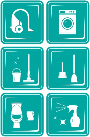 toilet brush: set blue icons with objects for home cleaning Illustration