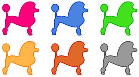 set isolated colorful poodle icon Illustration