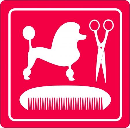 犬歯: ピンクのプードル犬、はさみ、櫛のシルエットを持つアイコンをグルーミング