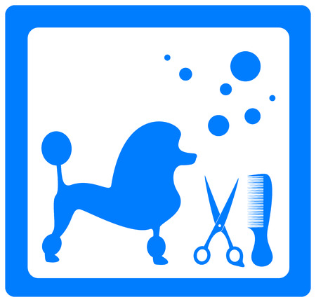 grooming: grooming symbol with poodle, scissors, comb and shampoo bubbles