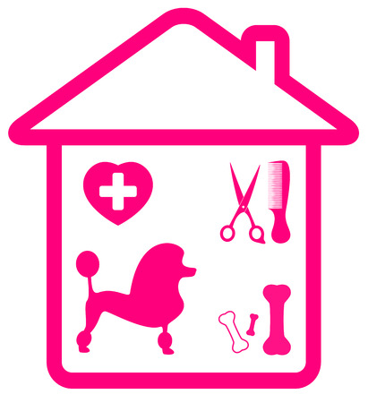 pet services: home pet services symbol with poodle, grooming, veterinary and bone silhouette