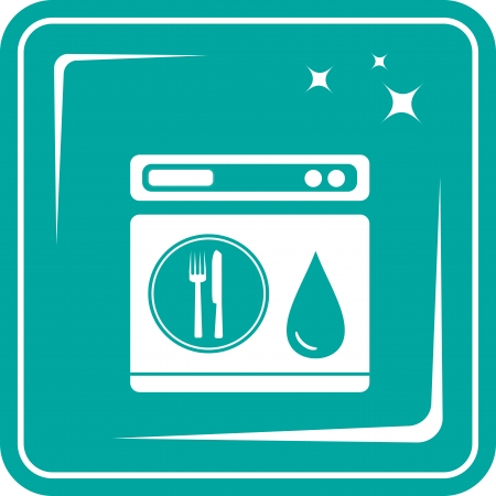blue icon with shine dishwasher symbol Vector