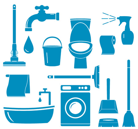 set blue isolated objects for home work cleaning Vector