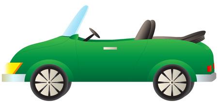 convertible car: isolated green cartoon cabriolet car