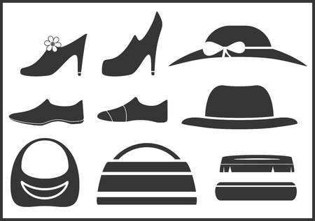 black isolated clothes objects and accessories Stock Vector - 22773597