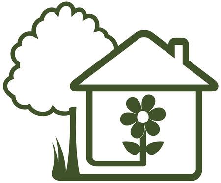 haus garten: isoliert Schild mit Symbol Landschaftsbau - Baum, Haus, Blume und heimischen Garten Illustration