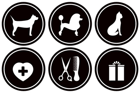 cat grooming: set isolated black icons for pet services
