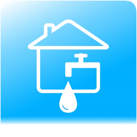 tap spigot with drop and house on light blue water background Vector