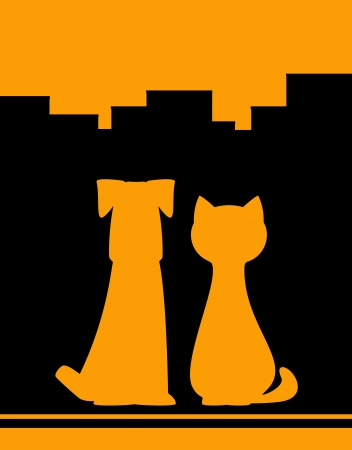 starving: yellow urban background with dog and cat silhouette Illustration