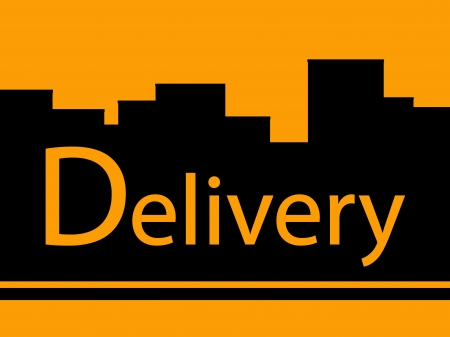 portage: yellow delivery background with urban landscape
