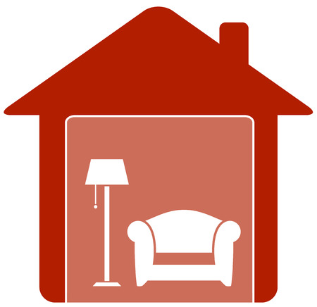 red icon with armchair and floor lamp in home Vector