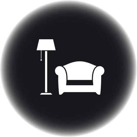 lounge room: black round icon with floor lamp and armchair