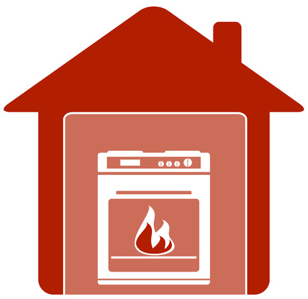 gas stove: red icon with gas stove in home silhouette Illustration