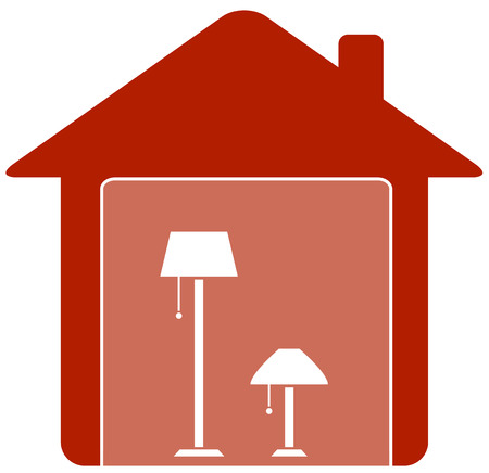 red icon with floor lamp in home white silhouette Vector