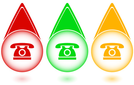 caller: set green, red and yellow button with phone