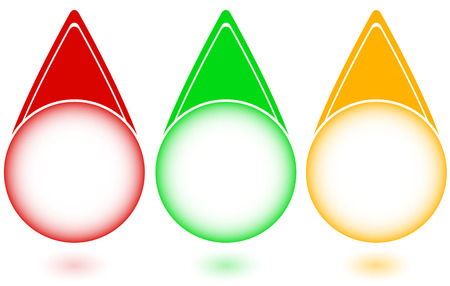 set of glossy buttons in colors of a traffic light Vector
