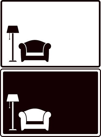 set two interior background with floor lamp and armchair silhouette Vector