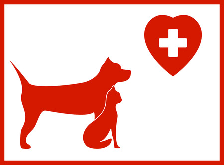 veterinary icon with pet and medical sign Vector