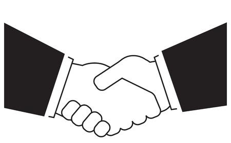manos unidas: fondo icono con la silueta del apretón de manos de negocios Vectores