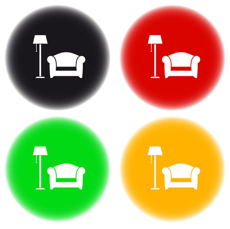set colorful round icon with floor lamp, armchair on glossy button Stock Vector - 23196853