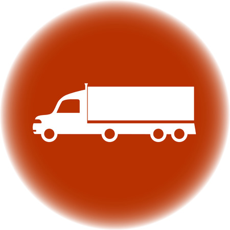 portage: round delivery sign - brown round icon with american truck silhouette