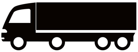 long distance: isolated black truck silhouette - free delivery symbol