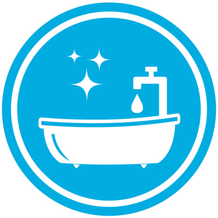 isolated blue bathroom icon - hygiene symbol Vector