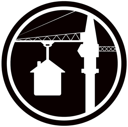 building symbol with construction crane and house silhouette Vector