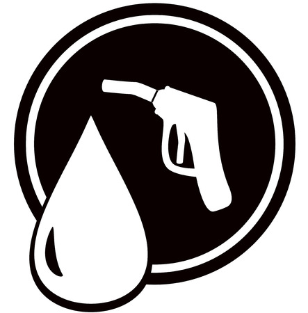 combustible: black icon with gun for fuel pump - gas station sign