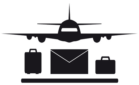 passenger compartment: isolated plane, envelope and luggage symbol silhouette Illustration
