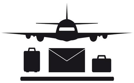 isolated plane, envelope and luggage symbol silhouette Ilustração