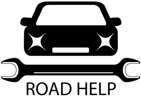 upkeep: road help sign with black car and tools for repair - auto service station symbol Illustration