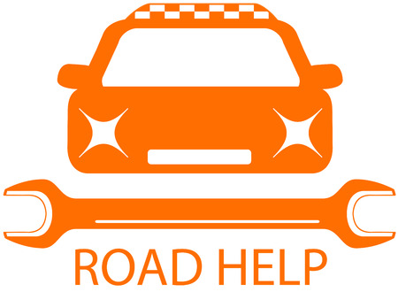 upkeep: road help sign with taxi car - professional help of road symbol