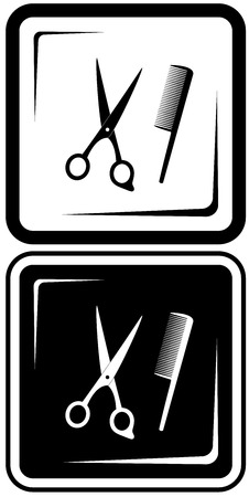 hairdressing scissors: icon with scissors and comb  hair salon vector symbols Illustration