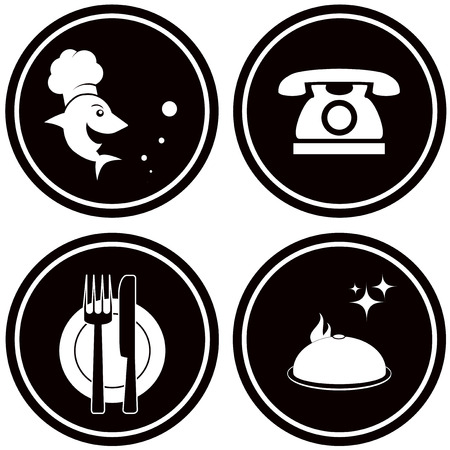 set black icon for fish restaurant menu Vector