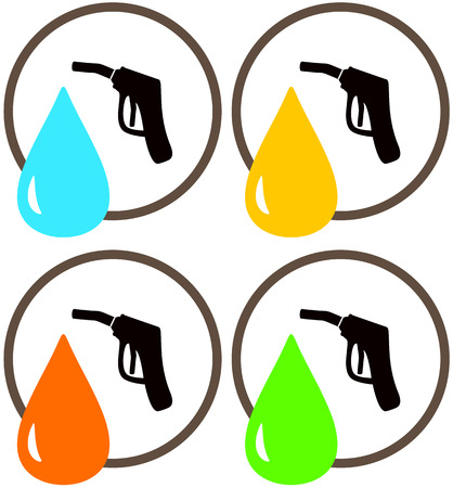 combustible: set icons with gun of gas station with oil and fueling drop