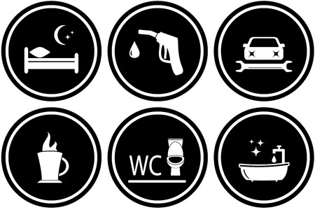 refuel: black set round road signs for hotel or gas station