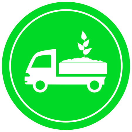 truck with soil and sprout - garden delivery symbol Vector