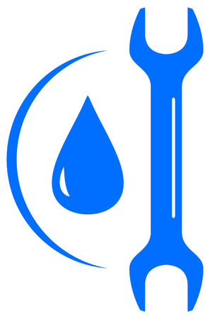 icon with wrench and drop - plumbing repair symbol Vector