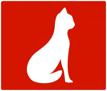 cat grooming: red backdrop with cat white silhouette Illustration