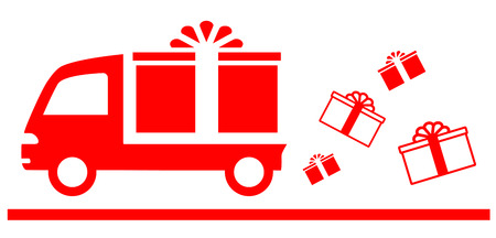 profit celebration: red advertise symbol with truck and gift box Illustration