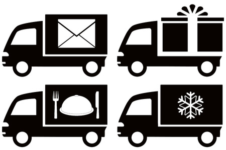 icebox: set black truck with snowflake, envelope, food dish, gift box Illustration