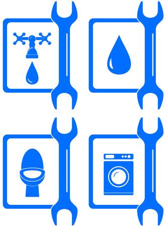 upkeep: set water  icons for plumbing repair Illustration