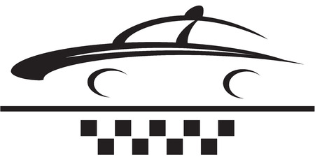 taxi sign - car and cab symbol silhouette Vector