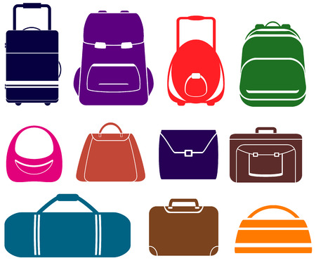 colorful vector set with isolated bag icons Stock Vector - 24019618