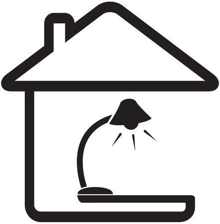 símbolo de casa interior con lámpara de pie silueta Ilustración de vector