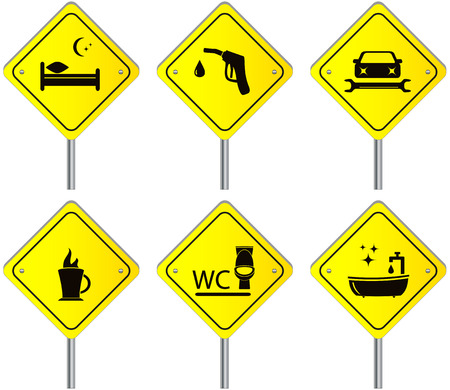 sleeping car: yellow set traffic road signs with services for travel and car