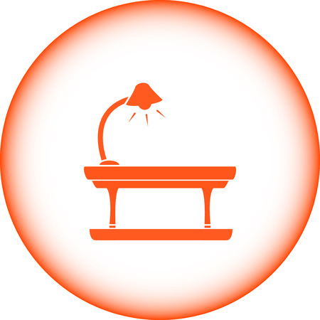 desk lamp: yellow table icon with floor lamp silhouette Illustration